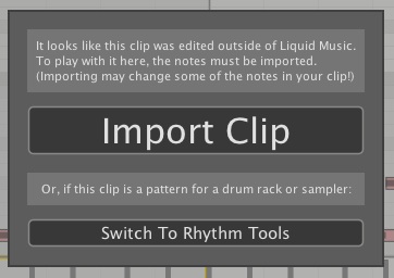 Liquid Music Import Clip Prompt